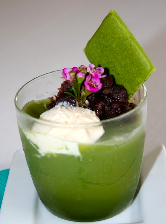 The magic powder – Matcha jelly with adzuki bean paste and vanilla ice cream