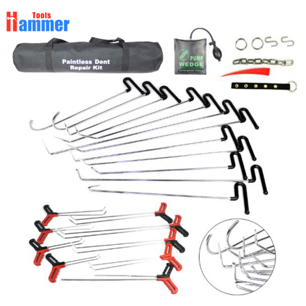 39pcs New PDR Rods Bag Spring steel hook Hook Tools Paintless Dent Repair Tools Set Car Dent Repair Tool Set
