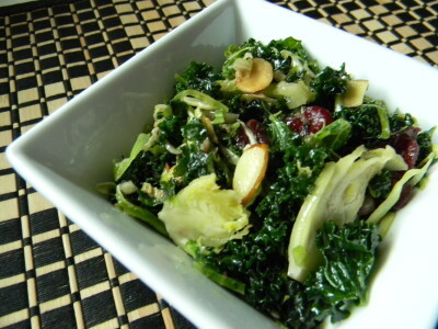 Raw Kale & Brussel Sprout Salad w/ Dijon Maple Dressing…
