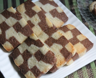Eggless Checkerboard Cookies Recipe / Vanilla & Chocolate Checkerboard Cookies Recipe