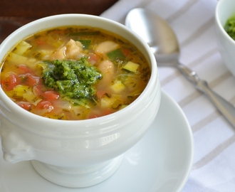 Provencal Vegetable Soup with Basil Pesto