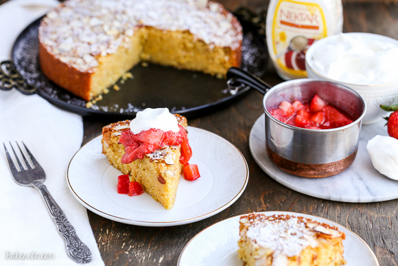 Gluten Free Honey Cornmeal Cake with Strawberry Compote + Honey Whipped Cream