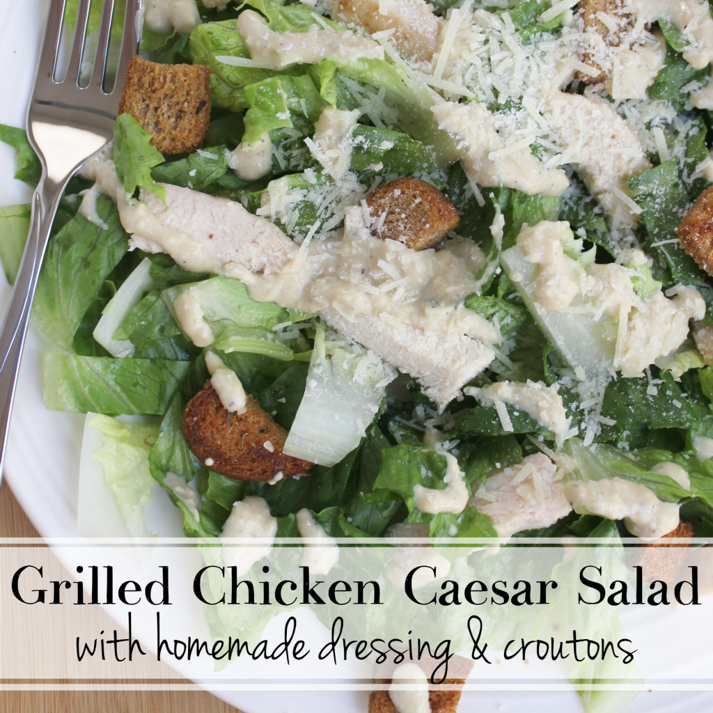 Grilled Chicken Caesar Salad with Homemade Dressing & Croutons