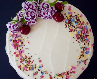 Vegan Cherry Birthday Cake with White Chocolate Frosting