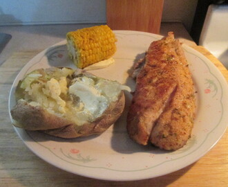 Herb-Crusted Red Snapper w/ Mini Ear of Sweet Corn and Baked Potato