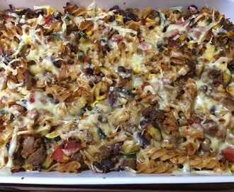 Mexican Beef and Bean Pasta Bake