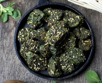Palak Methi Nu Muthiya (Gujarati Steamed Spinach Dumplings)