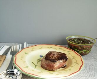 Bison Steaks with Cranberry Chimichurri #SundaySupper