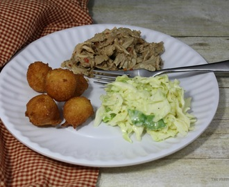 North Carolina BBQ with Cole Slaw and Hush Puppies / #SundaySupper
