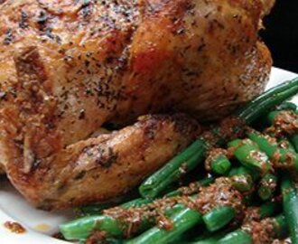 Roast chicken with chermoula and green beans