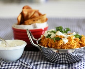 Sweet potato hummus with tzatziki and spicy pita chips