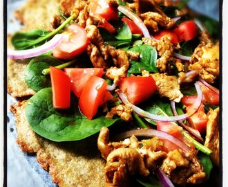 Fajita Chicken & Salad Pizza on Quinoa & Chia Seed Flatbread