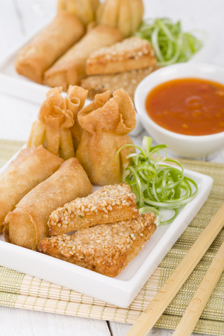 Asian Appetizers – Fried Wontons, Prawn Toast and Spring Rolls