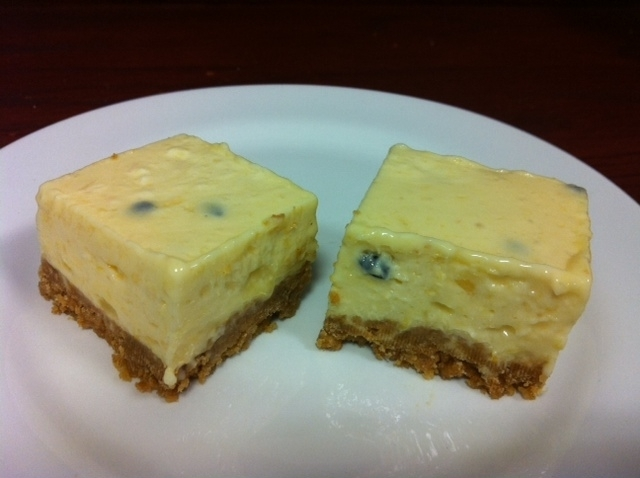 Lemon and passionfruit cheesecake slice