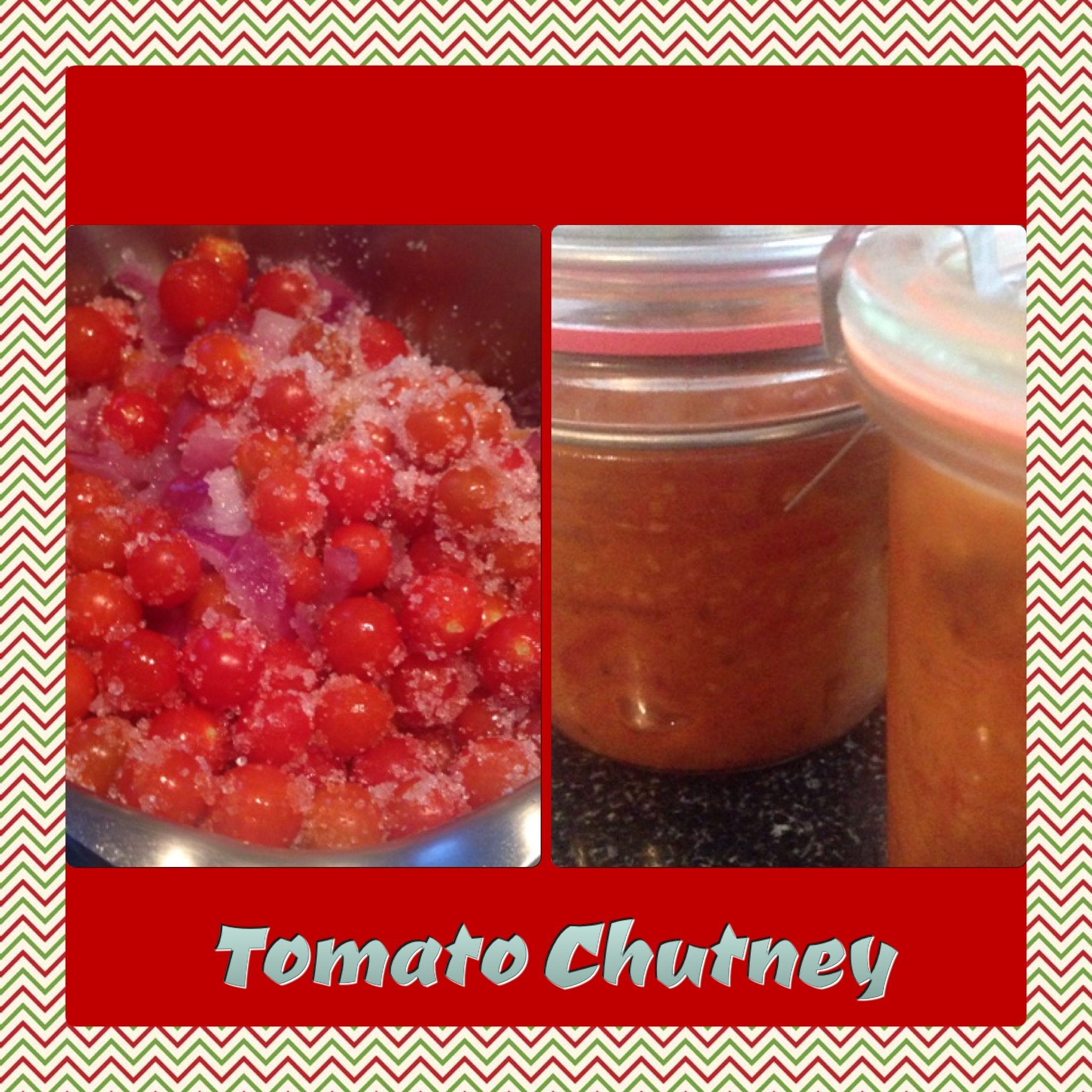 Tangy yet sweet tomato chutney, perfect as a topping or side
