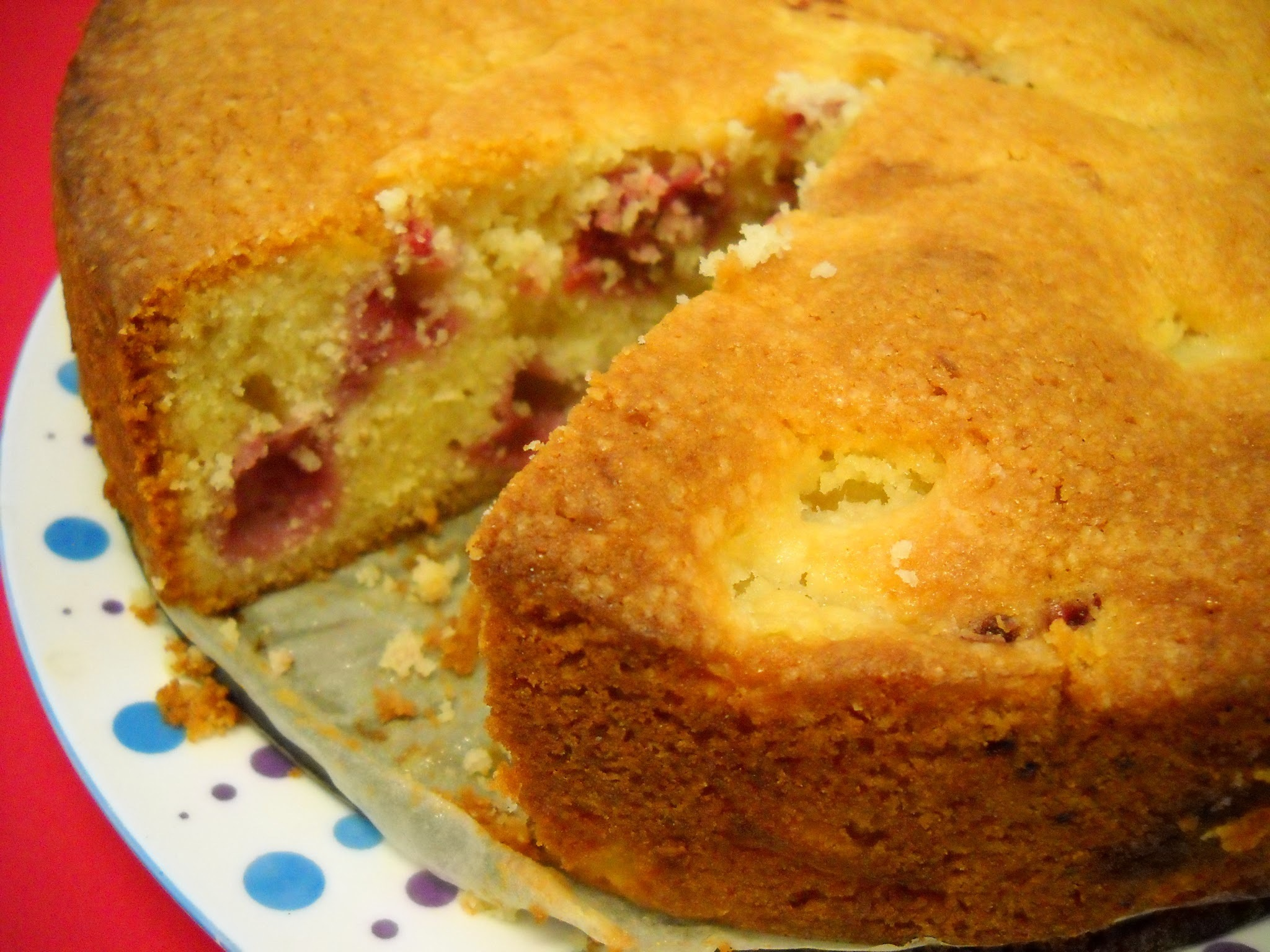 Raspberry and pear cake