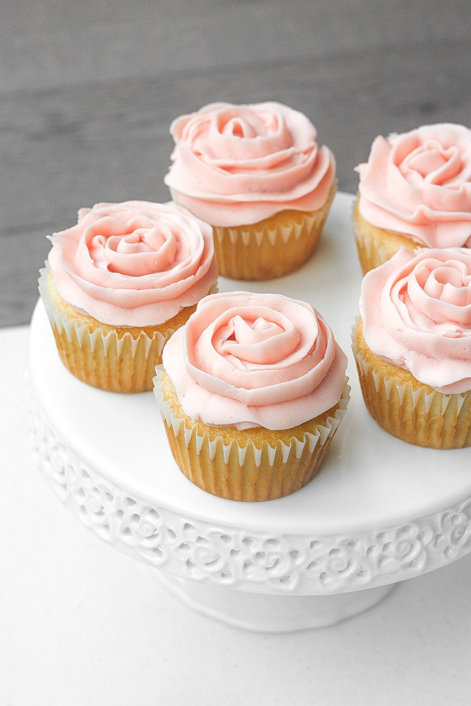 Mother's Day Vanilla Cupcakes with Rose Petal Buttercream Icing