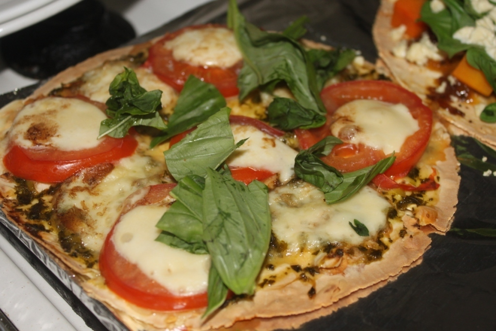 Fancy-Pants Pizza, Two Ways - Caprese Pizza; and Pumpkin, Spinach, Feta and Caramelised Onion