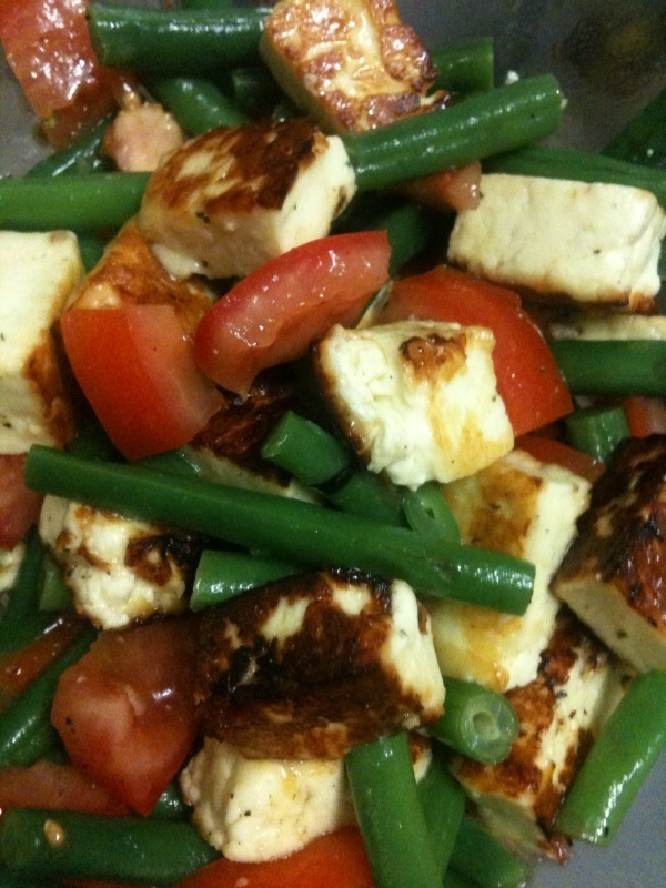 Haloumi, tomato and green bean salad.
