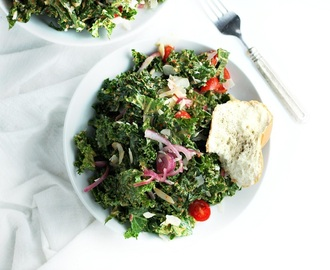 Kale Salad with Marinated Red Onions and Roasted Red Pepper Dressing