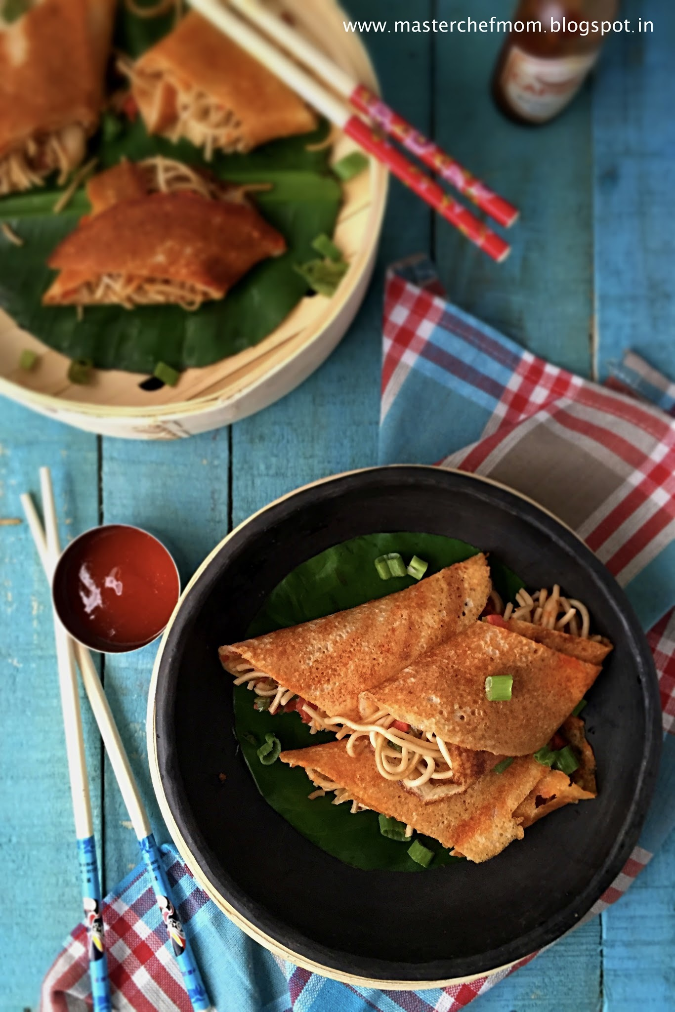 Schezwan Dosa | Bombay Style Schezwan Dosa | Dosa With Chow Mein Noodle Stuffing| How to make Schezwan Dosa at Home | Stepwise Pictures | Indo Chinese Cuisine