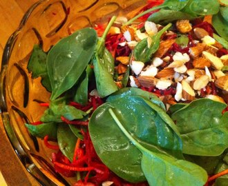 Fresh Beetroot Salad with Almonds and Baby Spinach. Who says you can't win friends with salad?