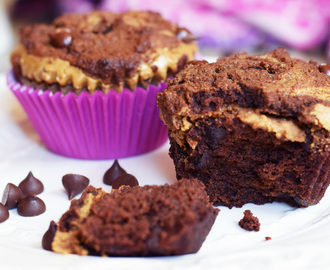 "Double Chocolate ""Peanut Butter"" Muffins"