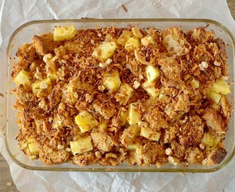 Vegan Toasted Coconut Cashew  Pineapple French Toast Bake {GF & Paleo Option!}