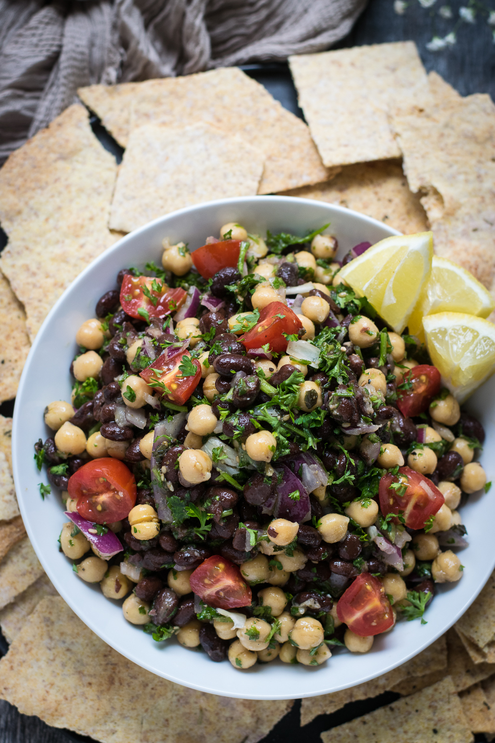 Easy Balela, Cold Chickpea & Black Bean Salad