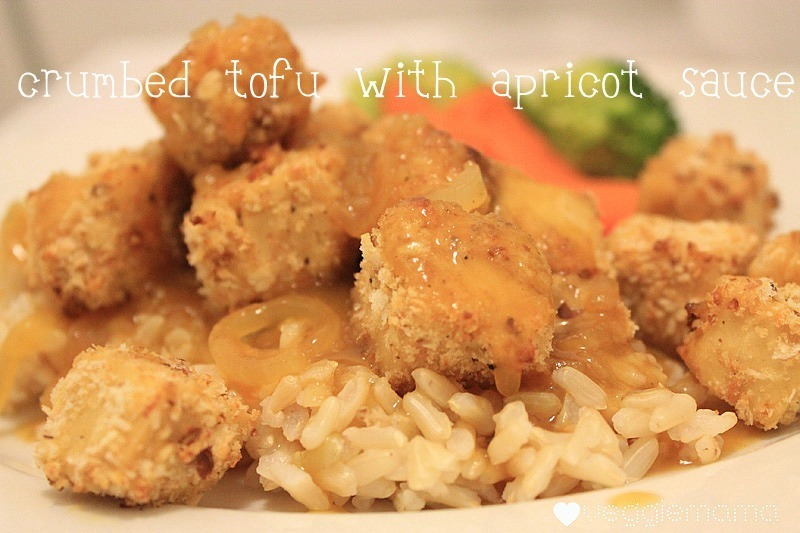 Meatless Monday - crumbed tofu with French onion apricot sauce