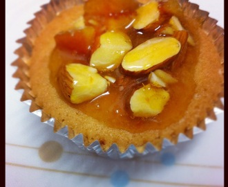 Vanilla Cupcakes with Marmalade and Almond Topping.