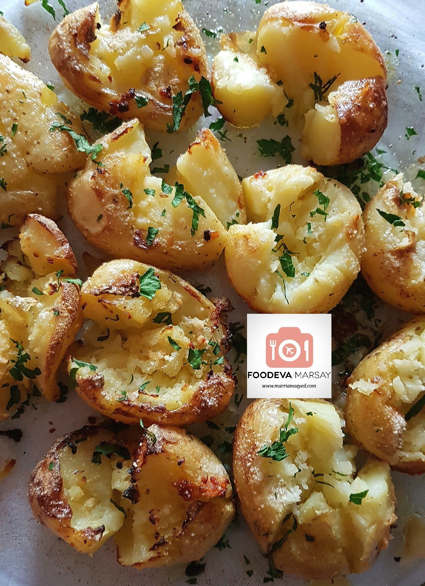 Parmesan and Garlic Smashed Potatoes