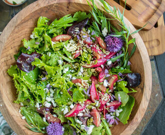 Green Salad with Roasted Rhubarb, Goat Cheese & Tarragon