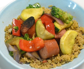 15 Minute Turkey Kielbasa & Vegetable Stir Fry with Quinoa