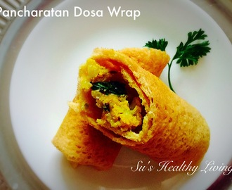 Pancharatan Dosa Wrap ( Crepes made with 5 different kinds of lentils) ; Diabetes Friendly Thursday