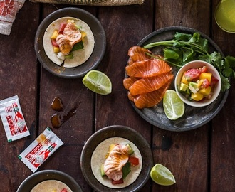 Torched Salmon and Mango Tacos with Soft Corn Tortillas (GF DF)