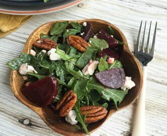 Roasted Beet Salad with Goat Cheese and Pecans + $25 Gift Card Giveaway