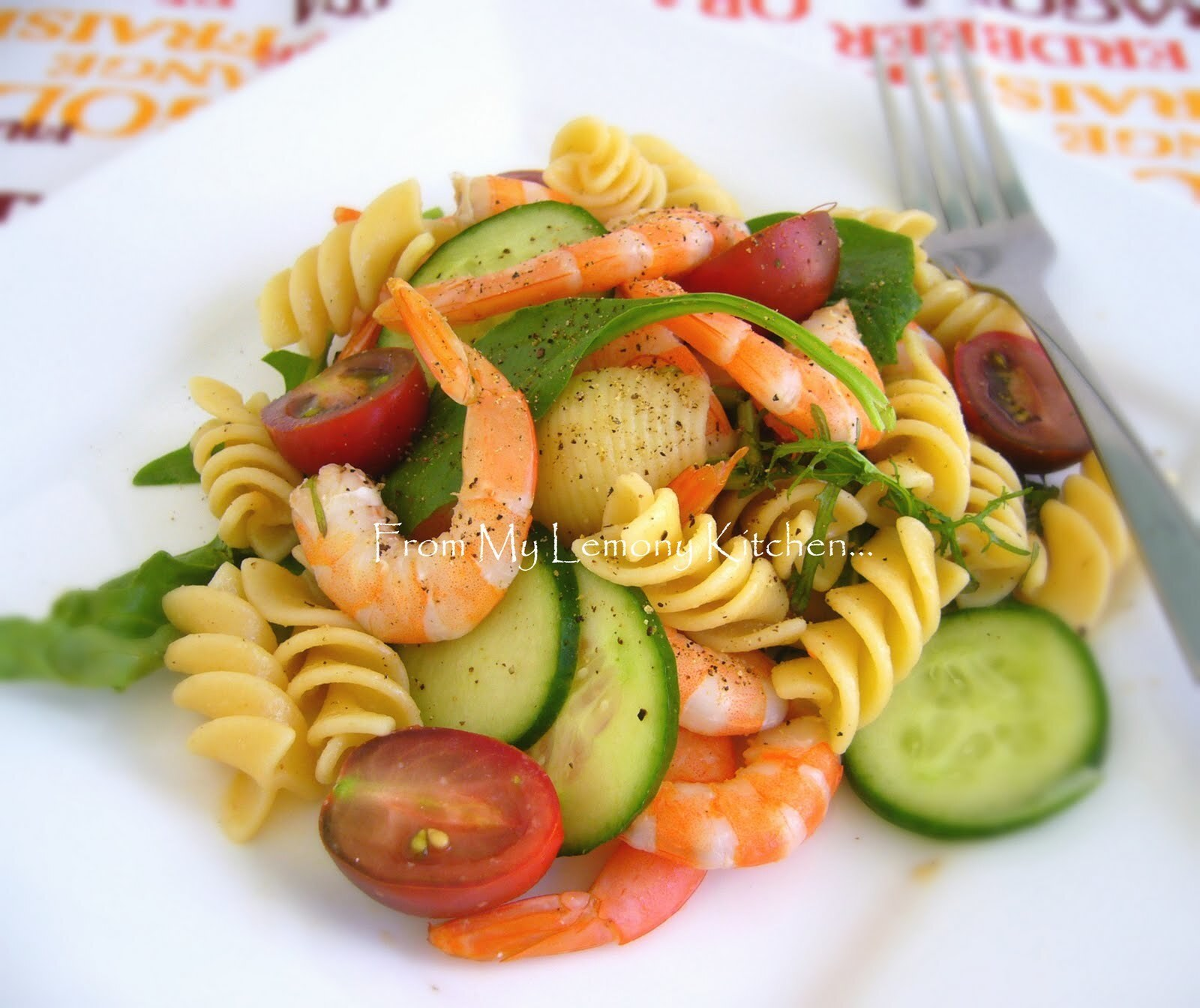 Prawns, Kumatoes and Pasta Salad