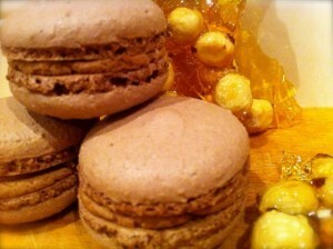 Chocolate Macarons with Frangelico Buttercream and Hazelnut Praline – Nuts about Sweets! July Sweet Adventures Blog Hop