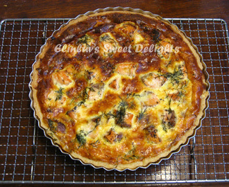 Caramelized Onion & Salmon Quiche