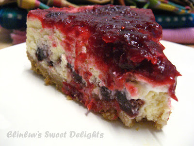 Cranberry Layered Cheesecake With Biscuit Crust Base