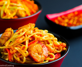 Schezwan Noodles with Chicken and Shrimp