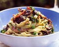 Easy Pasta Carbonara with Fresh Asparagus, Peas, Onions and Mushrooms - YUM!