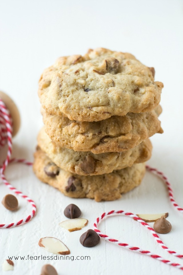 Gluten Free Slivered Almond Chocolate Peanut Butter Chip Cookies