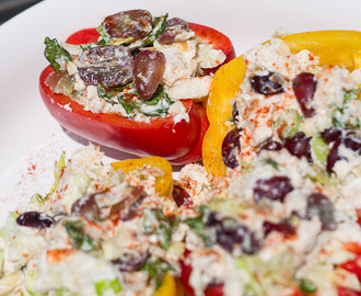 Healthy Chicken Salad with Greek Yogurt Dressing In a Pepper