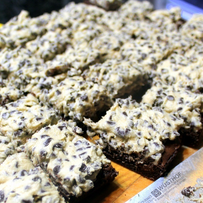 Cookie Dough Brownies - 52 Cakes and Pies, Catering Recipes and Church PotLuck Desserts