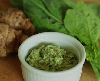 Warm roasted Jerusalem artichoke & kale dip