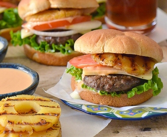 Tropical Burgers with Aioli and Chipotle Sauce