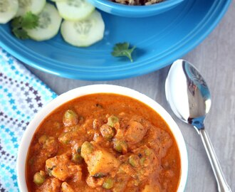 Shahi Aloo Matar – No Onion, No Garlic Shahi Aloo Mutter – Potatoes and Peas in Rich Tomato Gravy
