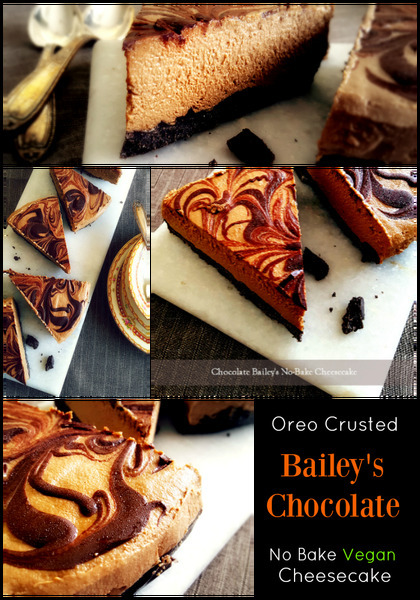 Chocolate Bailey's No Bake Vegan Cheesecake